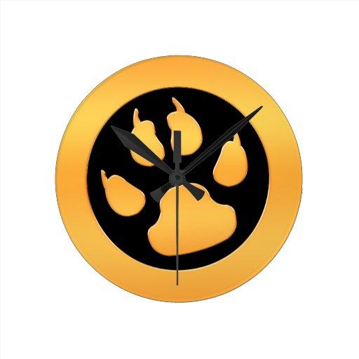 Gold Paw Print Round Wallclock