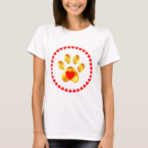 Gold Paw with hearts T-Shirt