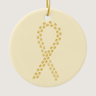 Gold Pawprint Ribbon Ceramic Ornament