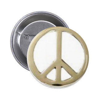 GOLD PEACE DESIGN 2 INCH ROUND BUTTON