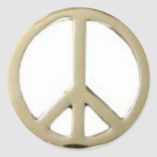 GOLD PEACE DESIGN CLASSIC ROUND STICKER