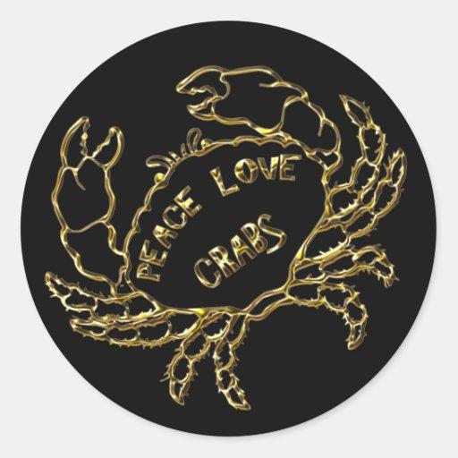 GOLD PEACE LOVE CRABS CLASSIC ROUND STICKER