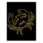 GOLD PEACE LOVE CRABS POSTCARD