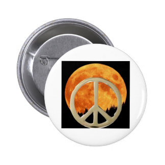 GOLD PEACE MOON PINBACK BUTTONS