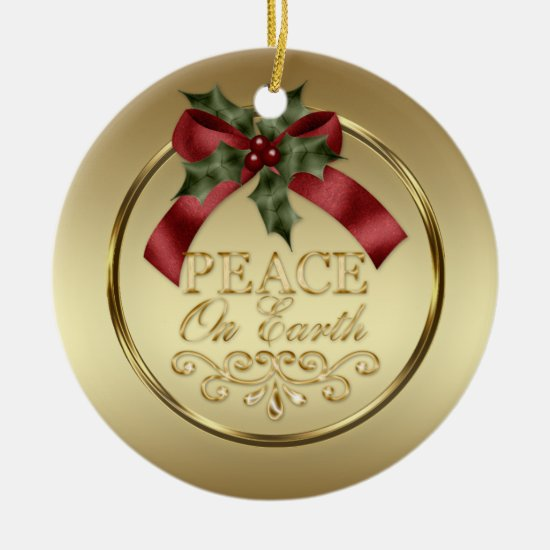 49b0cb6250d Gold Peace on Earth Red Green Ribbon Holly Berries Ceramic Ornament