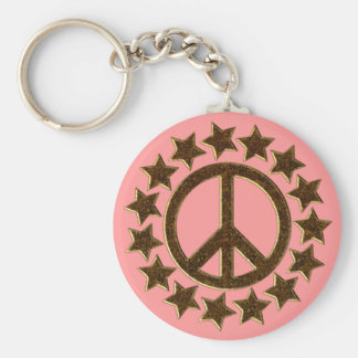 GOLD PEACE SIGN AND STARS BASIC ROUND BUTTON KEYCHAIN
