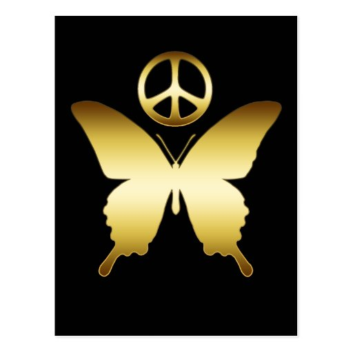 GOLD PEACE SIGN & BUTTERFLY POSTCARD