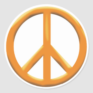GOLD PEACE SIGN CLASSIC ROUND STICKER