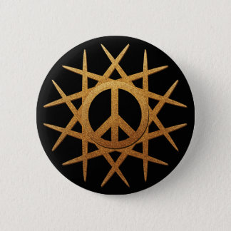 GOLD PEACE SIGN PATTERN BUTTON