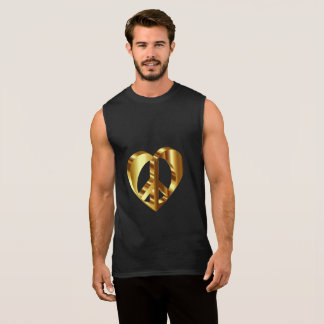 Gold Peace Sign With A Gold Heart Sleeveless Shirt