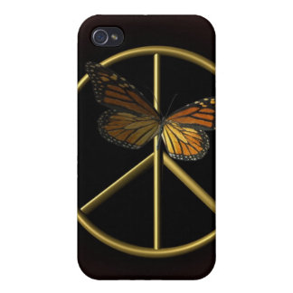 Gold Peace Sign with Butterfly Covers For iPhone 4