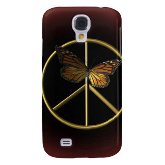 Gold Peace Sign with Butterfly Galaxy S4 Case