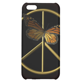 Gold Peace Sign with Butterfly iPhone 5C Cover