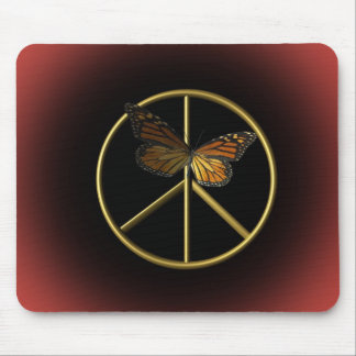 Gold Peace Sign with Butterfly Mouse Pad