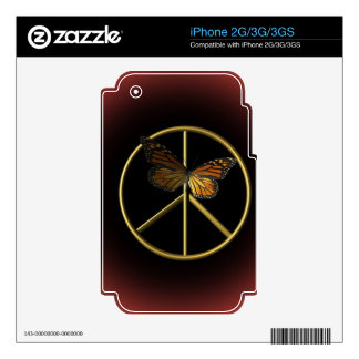 Gold Peace Sign with Butterfly Skin For iPhone 3GS