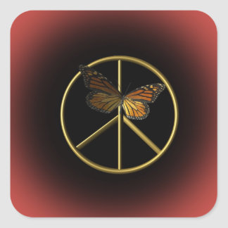 Gold Peace Sign with Butterfly Square Sticker