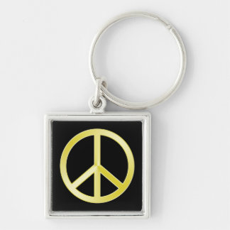 Gold Peace Symbol Keychain