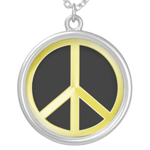 Gold Peace Symbol Round Pendant Necklace
