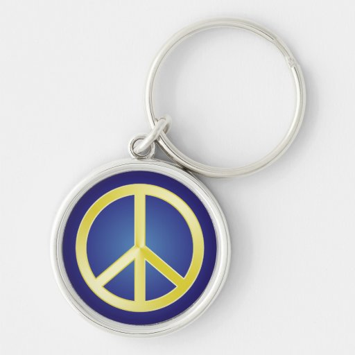 Gold Peace Symbol Silver-Colored Round Keychain