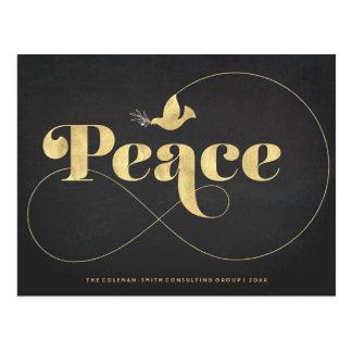 Gold Peaceful Golden Dove Modern Holiday Postcard