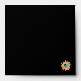 Gold Peach Aqua Floral Envelope