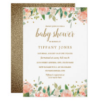Gold Peach Floral Watercolor Baby Shower Invite