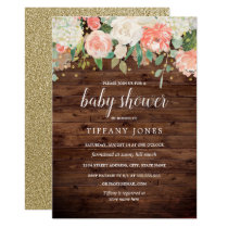 Gold Peach Floral Watercolor Wood Baby Shower Invitation