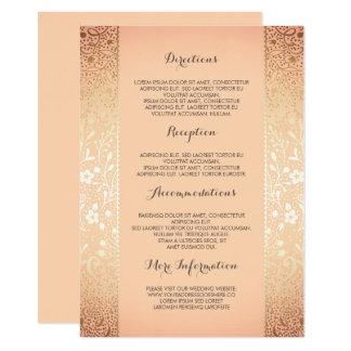 Gold Peach Floral Wedding Details -Information Card