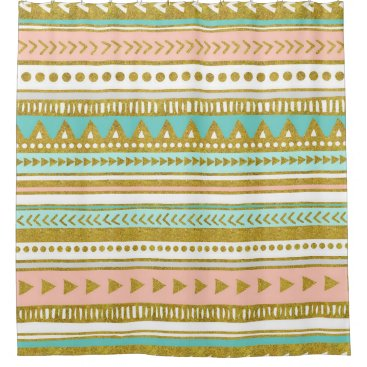 Aztec Themed Gold Peach Turquoise Tribal Pattern Shower Curtain