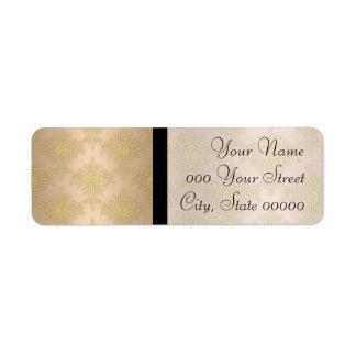 Gold Peachy Pink Damask Wedding Return Address Label