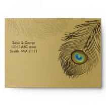 gold peacock envelopes