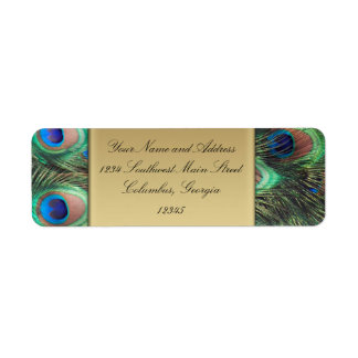 Gold Peacock Feather Elegant Address Label