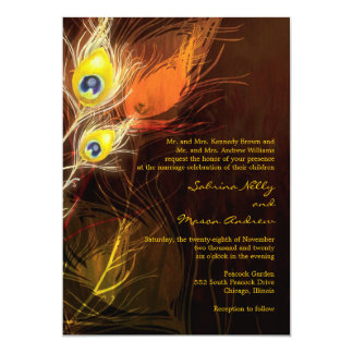 Gold Peacock Feather Flames Fall Wedding Card