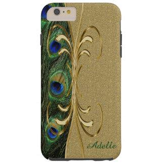 Gold Peacock Feather iPhone 6 Plus Monogram Case Tough iPhone 6 Plus Case