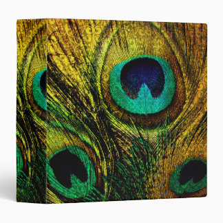 Gold Peacock Feather Pattern Binder