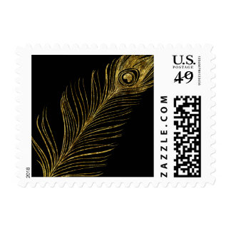 Gold Peacock Feather Postage