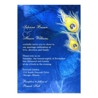 Gold Peacock Feathers Cobalt Blue Wedding Card