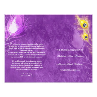 Gold Peacock Feathers Purple Wedding Programs