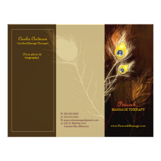"""Gold Peacock Feathers Tri Fold Business Brochures 8.5"""" X 11"""" Flyer"""