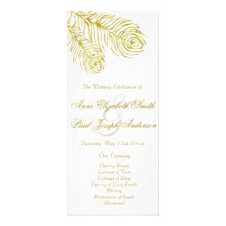 Gold peacock feathers wedding program custom rack cards