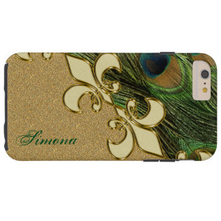 Gold Peacock Fleur-de-lis iPhone 6 Plus Monogram Tough iPhone 6 Plus Case