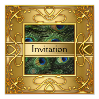 "Gold Peacock  Invitation Any Party 5.25"" Square Invitation Card"