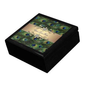 Gold Peacock Jewelry Box