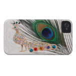 Gold Peacock Jewels & Feather Paisley Lace iPhone 4 Case-Mate Case