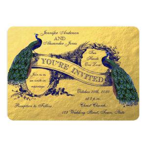 Gold Peacock Wedding Invitation 5