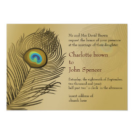 Gold Peacock Wedding Invitations