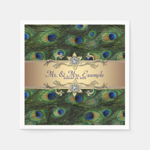 Gold Peacock Wedding Paper Napkin