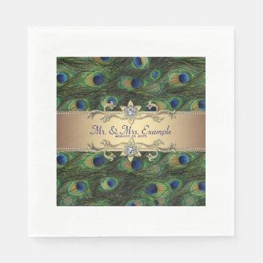 Gold Peacock Wedding Paper Napkins