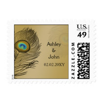 gold peacock wedding postage