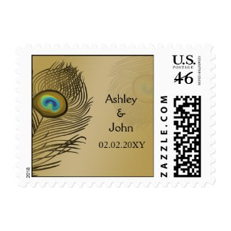 gold peacock wedding postage stamp
